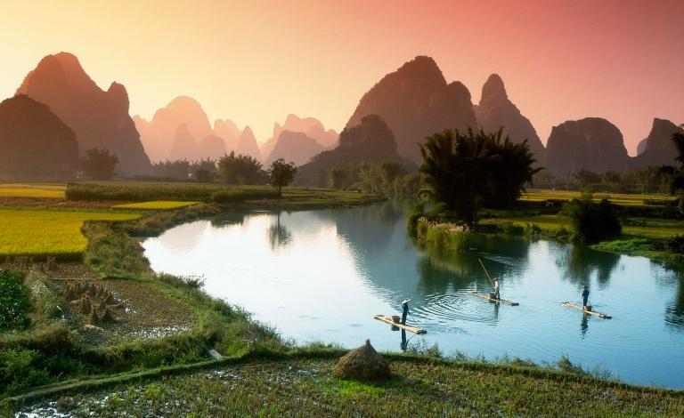 Fischer auf dem Li Fluss