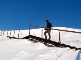 Treppe hoch zum Seljalandsfoss