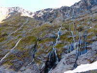 Wasserfälle am Homer Tunnel